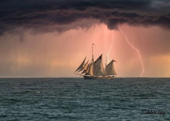 Bessie Ellen sailing the storm off Falmouth, by Robert Eddy.jpg.gallery.jpg